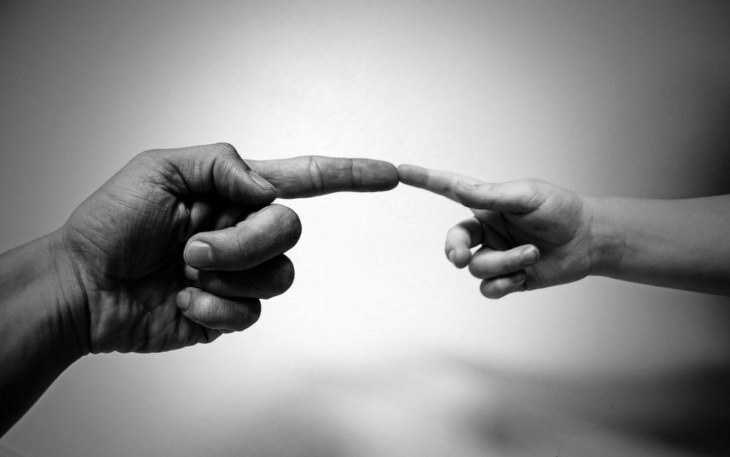 hand holding hand